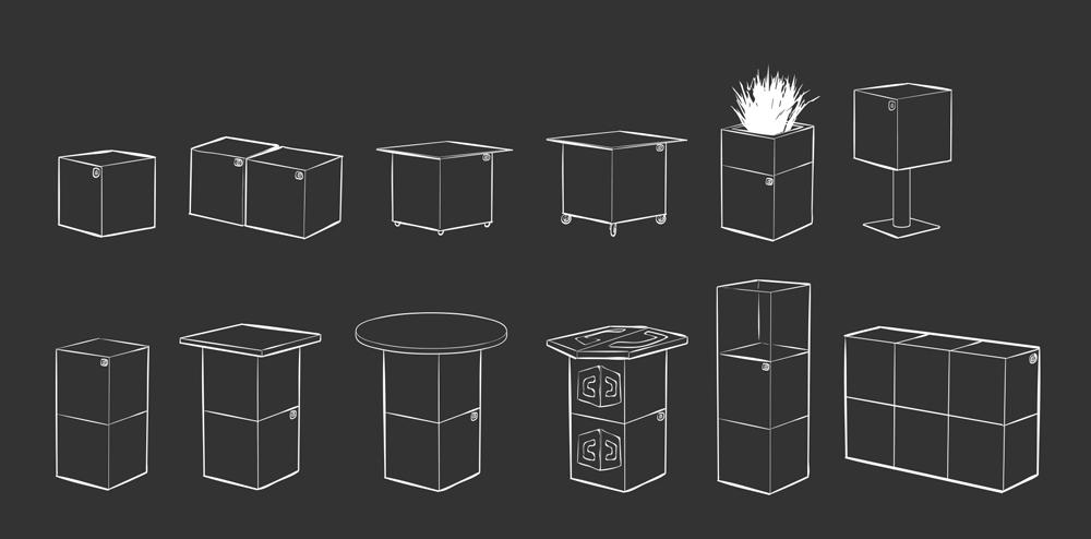 Eventwürfel verwandelbar als Hocker, Sitzhocker, Podest, Theke, Tisch, Stehtisch und mehr!